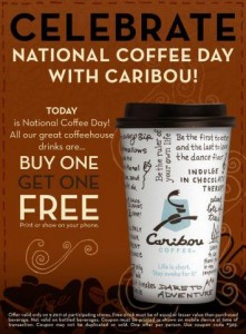 Caribou Coffee Celebrate National Coffee Day
