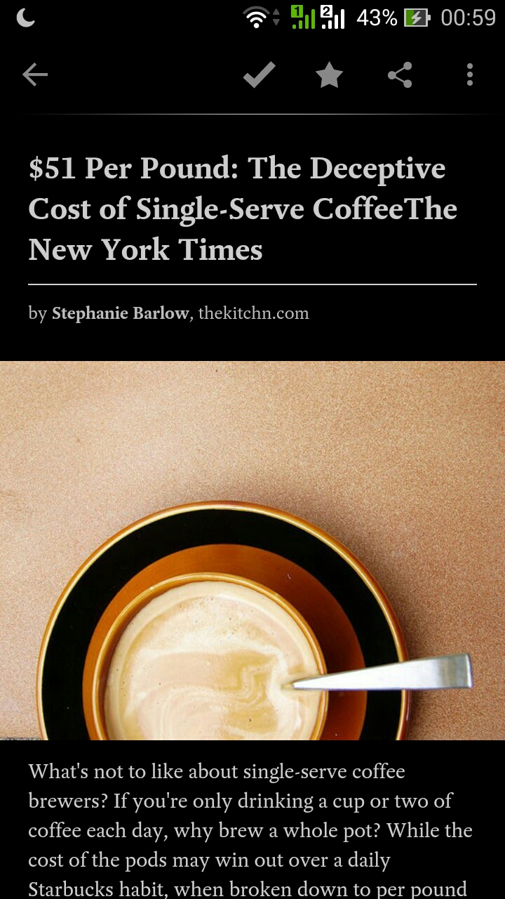 single cup coffee maker cost New York Times Screenshot