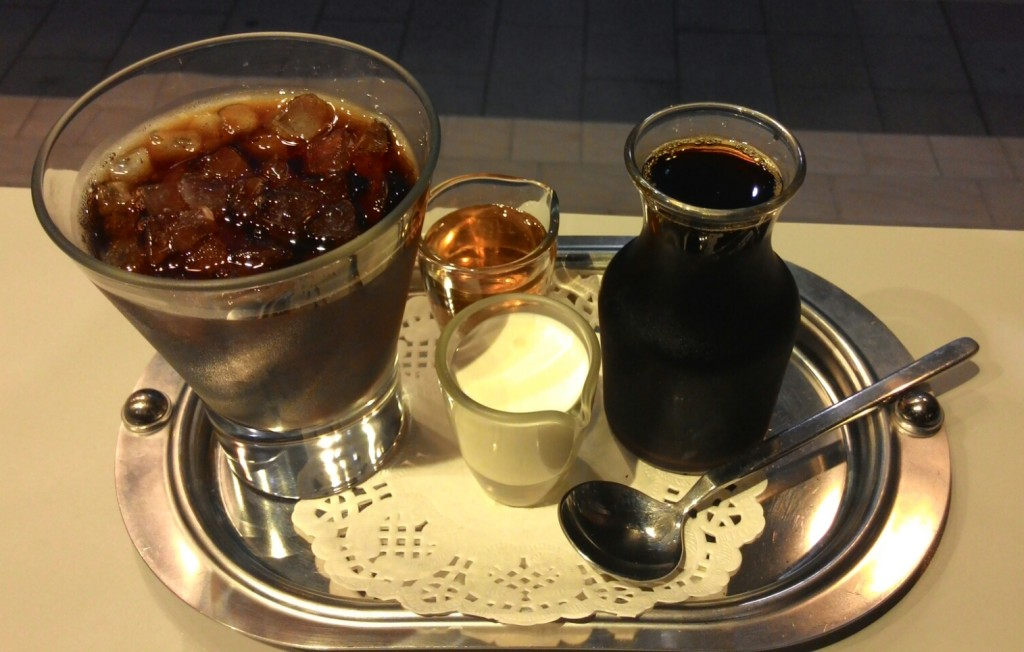 Iced Coffee served with crushed ice on a tray.